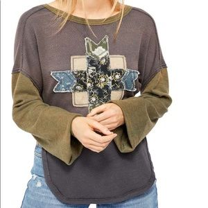 LAST CHANCE Free People lone star patchwork top